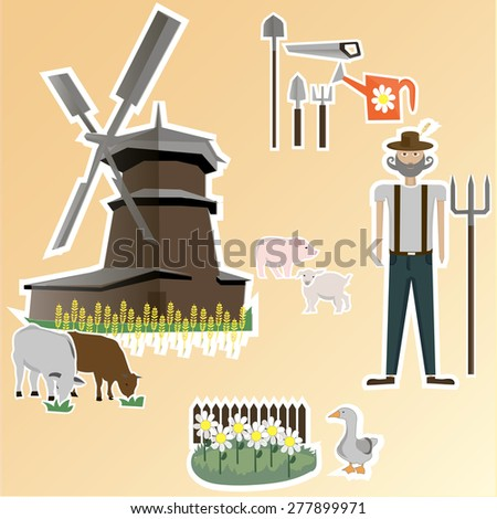 Farm. Agriculture. Organic products. Concept Vector Illustration. Health. Garden Tools. Mill. Animals - stock vector