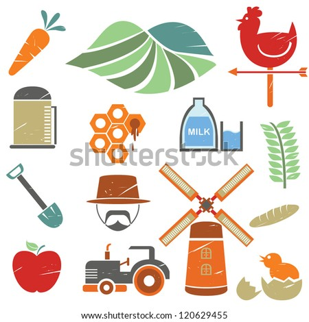 farm and agriculture icons set in grunge, vintage style - stock vector
