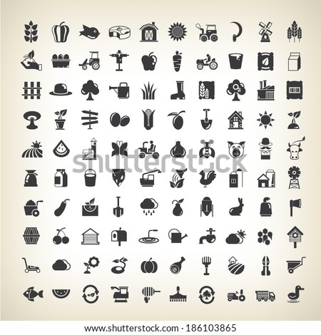 farm and agriculture industry icons set - stock vector