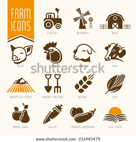 Farm and butcher shop icon set - stock vector