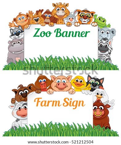farm zoo animals blank sign banner stock vector royalty free