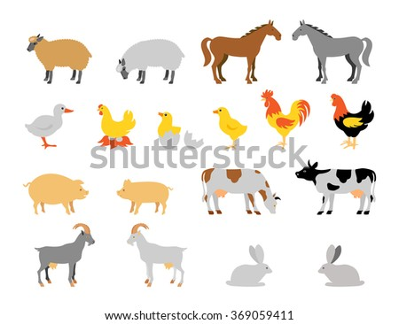 Farm animal collection set. Flat style character. Vector illustration. - stock vector