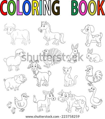 Farm animal coloring book - stock vector