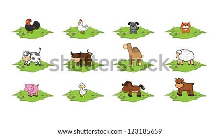 Farm animal grass land set - stock vector