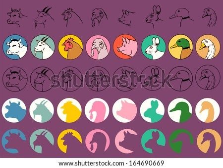 farm animal heads isolated, pig cow goat turkey chicken goose duck pigeon - stock vector
