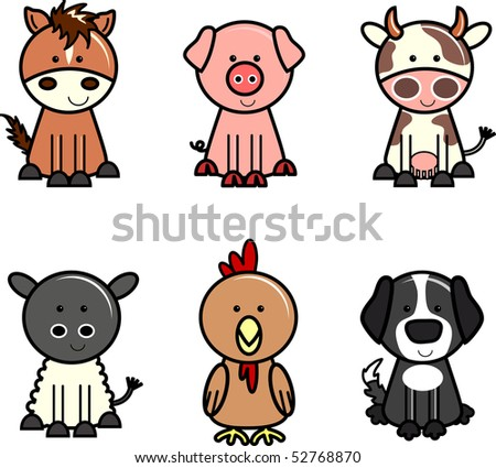 Farm animal icons isolated on white background. - stock vector