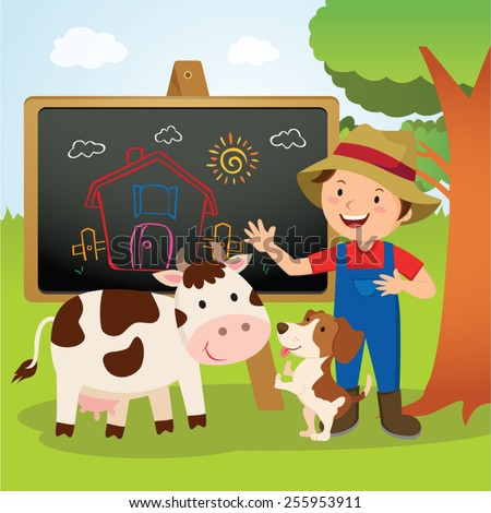 Farm animal school. Cheerful farmer gesturing with his farm dog and dairy cow. - stock vector