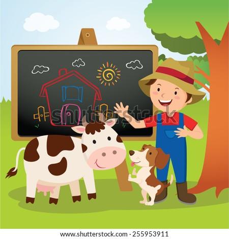 Farm animal school. Cheerful farmer gesturing with his farm dog and dairy cow. - stock vector