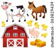Farm animals and barn illustration - stock vector