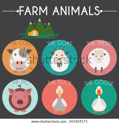 Farm Animals and Birds Round Icons Set. Cow, Goat, Sheep, Pig, Duck and Goose. Country barn in mountains valleys. Vector illustration. - stock vector