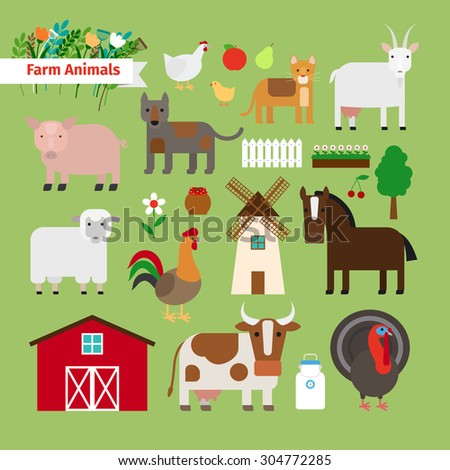 Farm animals and farm elements in flat style on green background - stock vector