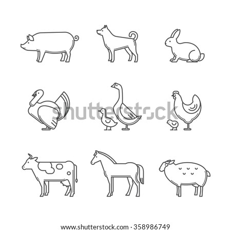Farm animals and pets vector set. Farm animals icons set isolated on a white background. Outline style characters vector illustration. - stock vector
