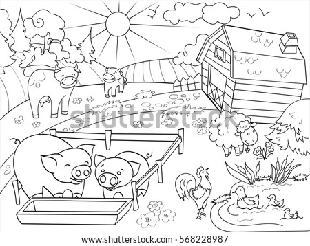 Farm Animals And Rural Landscape Coloring Book For Adults Vector Illustration