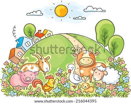 Farm animals and the green hill - stock vector