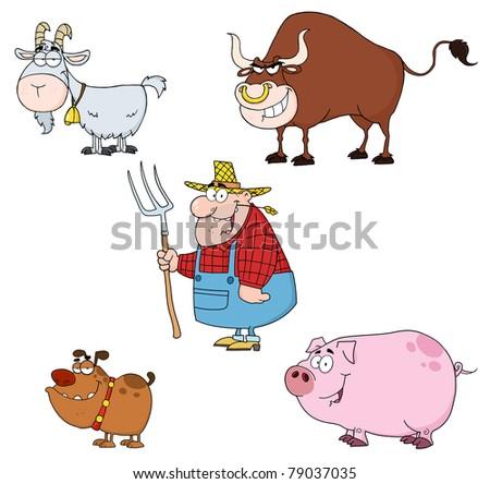 Farm Animals Cartoon Characters With Farmer Vector Set - stock vector