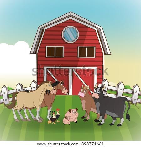Farm Animals Cartoons Vector Illustration