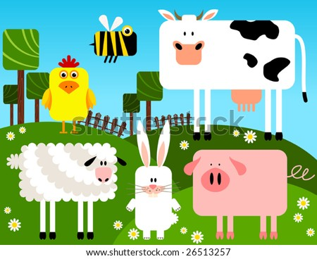 Farm animals collection, vector - stock vector