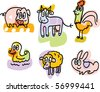 farm animals doodles: pig, cow, rooster, duck, sheep, rabbit - stock vector