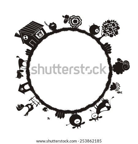 Farm animals. Frame for text. Vector silhouettes.  - stock vector