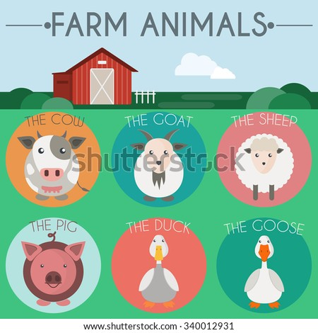 Farm Animals Icon Set. Countryside landscape view. Barn in the field. Colorful round icons. Flat cartoon style digital vector illustration. - stock vector