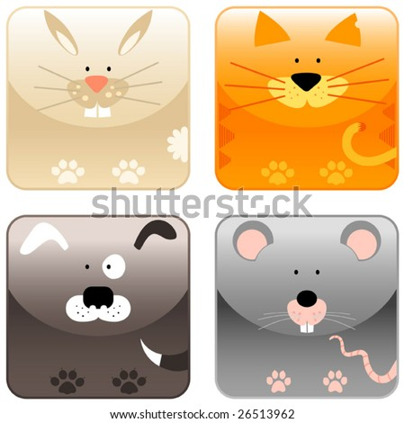 Farm animals icon set 2, rabbit, cat, dog, mouse, vector - stock vector