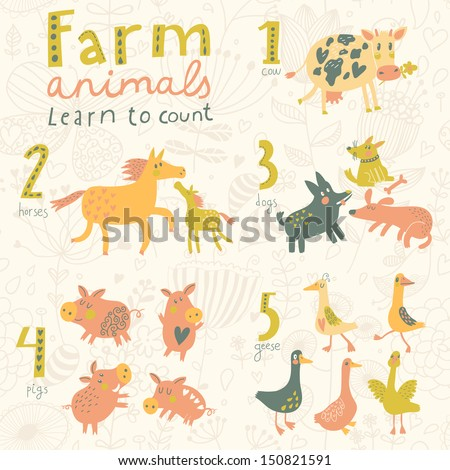 Farm animals. Learn to count part one. 1 cow, 2 horses, 3 dogs, 4 pigs, 5 geese. Funny cartoon childish illustrations in vector. Easy to learn figures with fun - stock vector