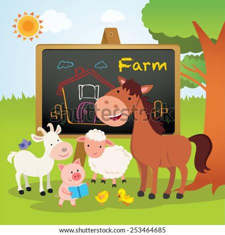 Farm animals lesson. Cheerful farm animals having presentation. - stock vector