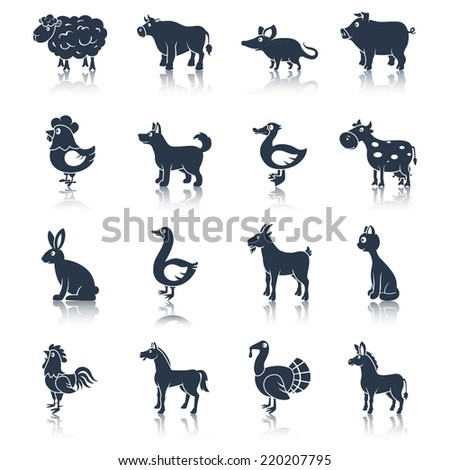 Farm animals livestock cattle and pets icons black set isolated vector illustration animals set black - stock vector