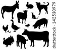 Farm animals on a white background - vector silhouette - stock vector