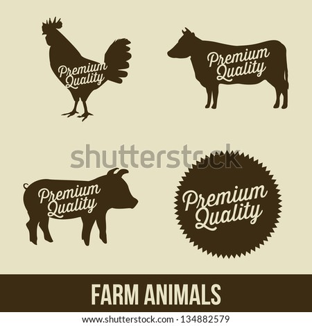 farm animals over beige background. vector illustration - stock vector