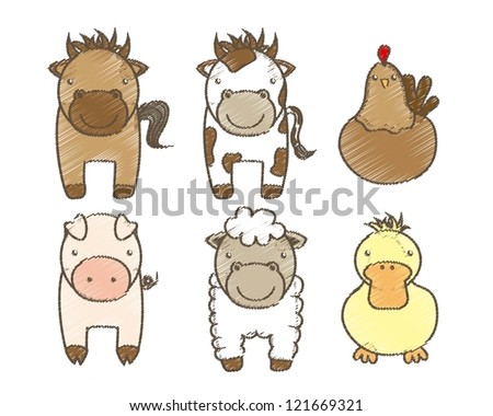 farm animals over white background. vector illustration - stock vector