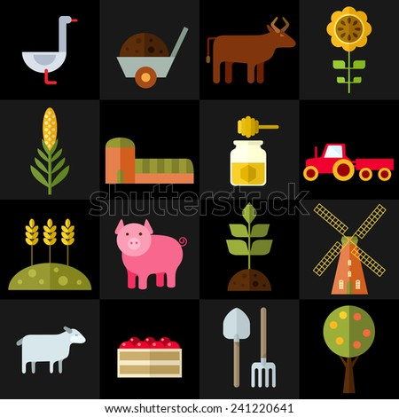 Farm animals, plants, fresh products, buildings and equipments. Colorful modern vector flat icons set. Elements for web and mobile apps. Vector file is EPS8. Each icon is grouped apart. - stock vector