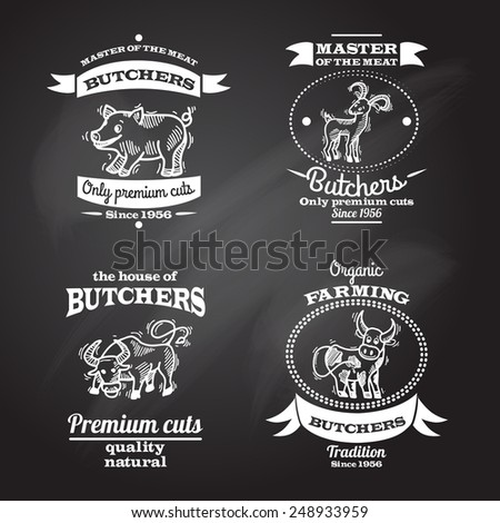 Farm animals premium organic meat chalkboard label set isolated vector illustration