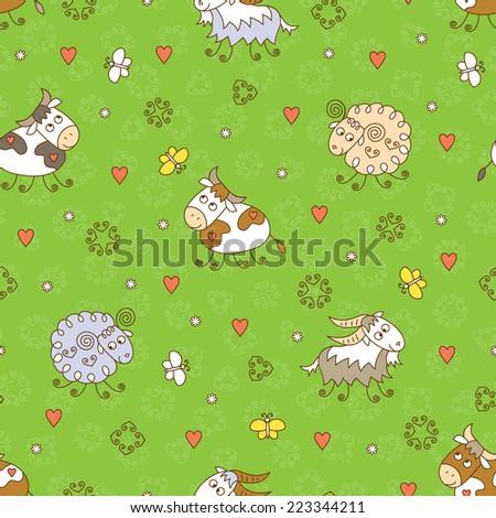 Farm animals seamless pattern. Kids background. - stock vector