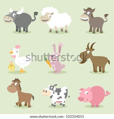 Farm animals series, buffalo, sheep, donkey, chicken, rabbit, goat, horse, cow, pig - stock vector