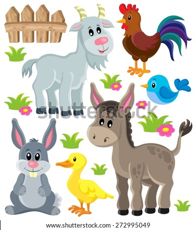 Farm animals set 3 - eps10 vector illustration. - stock vector