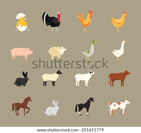 Farm animals set in flat vector style with a chicken  turkey  hen  cock  pig  sheep  goose  duck  rabbit  goat  beef coe  dairy cow  horse and shire horse - stock vector