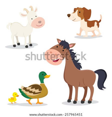 Farm animals. Set of cartoon farm animals isolated on white background. - stock vector