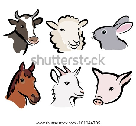 farm animals set of symbols, isolated vector illustration - stock vector