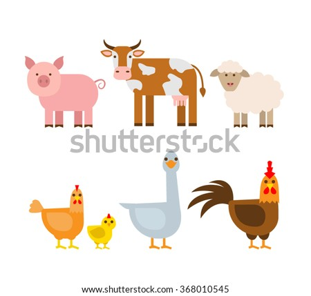 farm animals set. pig cow sheep hen chicken goose rooster isolated on white background - stock vector