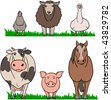 farm animals simplified, cow pig horse chicken sheep goose on green grass - stock