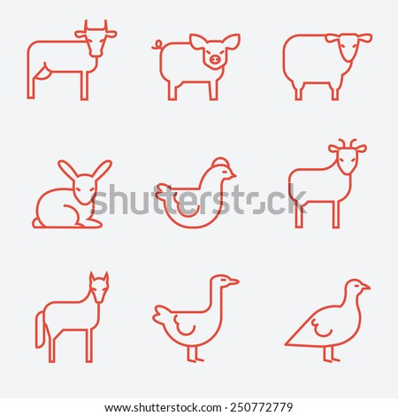 Farm animals, thin line style, flat design - stock vector