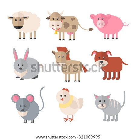 Farm animals. Vector flat icon set - stock vector