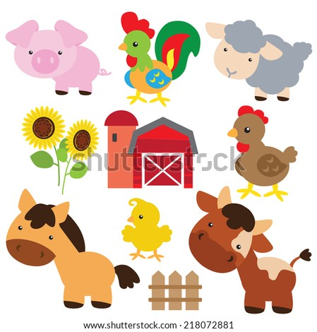 Farm animals vector illustration - stock vector