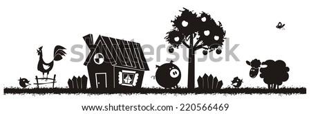 Farm animals - vector silhouette. - stock vector
