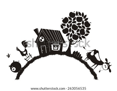 Farm animals - vector silhouette. - stock vector