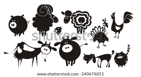 Farm animals. Vector silhouettes.  - stock vector