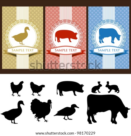 farm animals, vintage frame, labels food illustration - stock vector