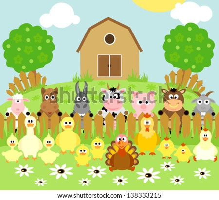 Farm background with funny animals - stock vector