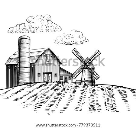 Farm Barn And Windmill On Agricultural Field Rural Landscape Hand Drawn Sketch Style Horizontal Illustration